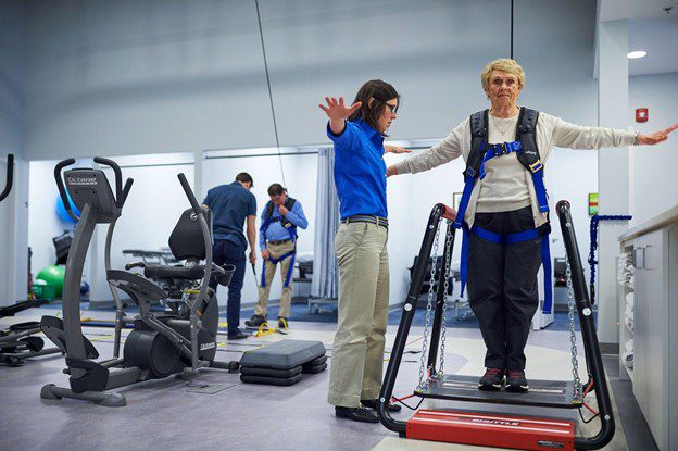 SoloStep overhead track and harness used in physical therapy